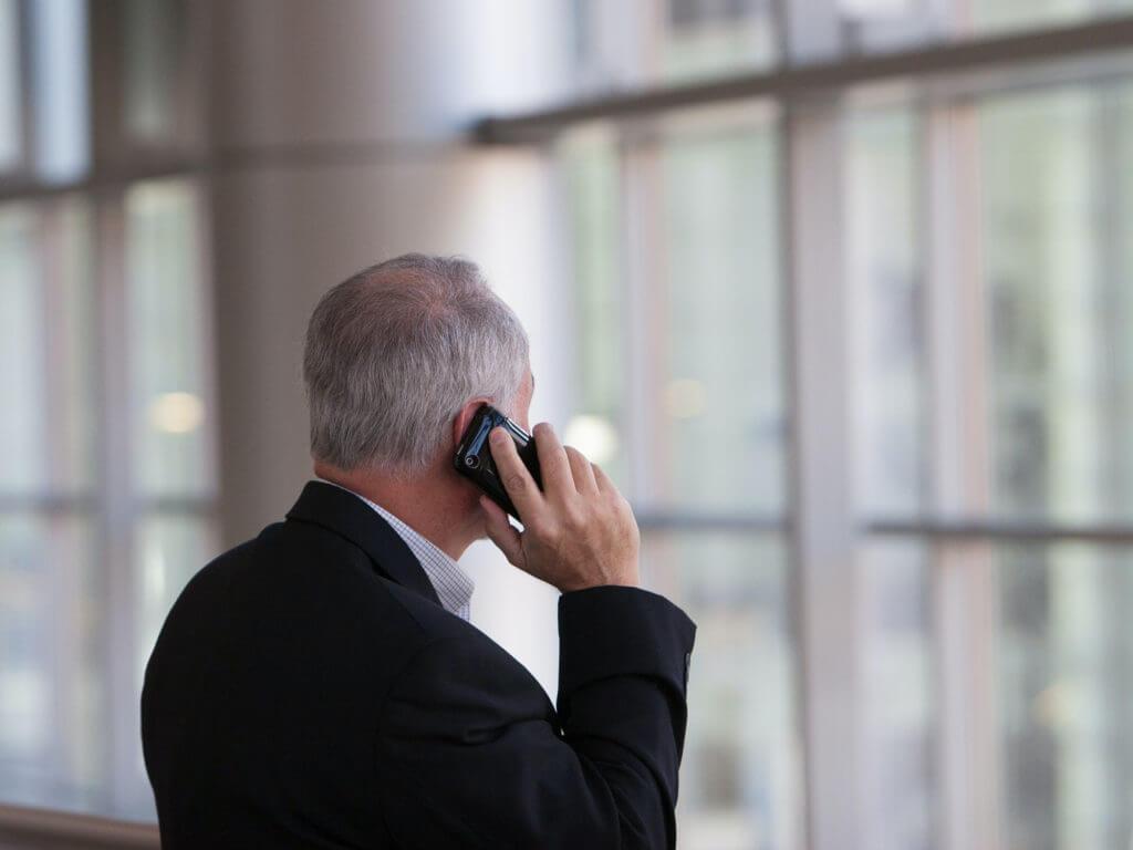 A man talking on a cellphone.