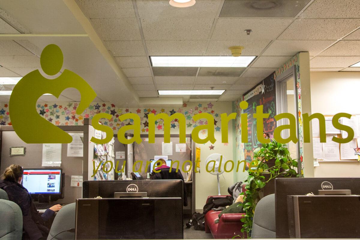 samaritans crisis center office window